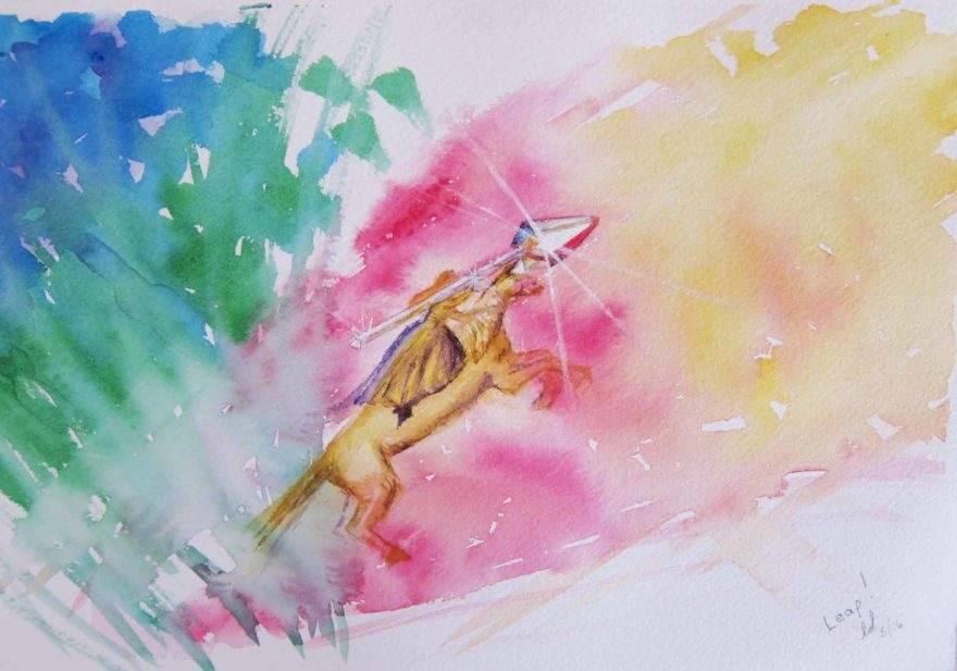 """Leap"" watercolor oracle Copyright 2016 Lianne Downey"