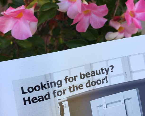 IKEA Catalog with garden flowers in background
